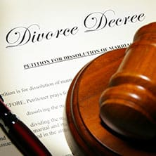 divorce decree document with gavel